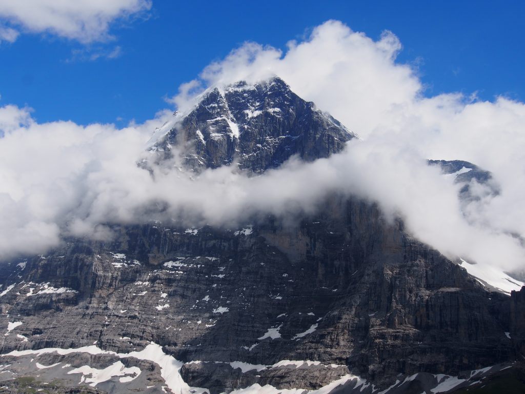 The famous Eiger wreathed with a necklace of cloud
