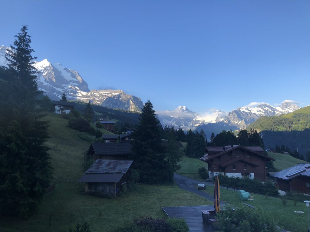 Dawn over the Jungfrau as viewed from our second floor balcony at the Hotel Brunner.