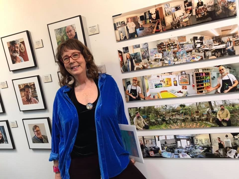 "Sandy Brown Jensenat the opening of her one woman show, ""Portraits & Panos"" at the Dot Dotson Gallery, 2019"