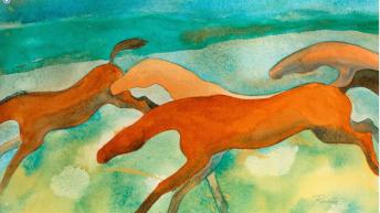 """""""Kiger Mustangs"""" Watercolor by Cheryl Renee Long"""