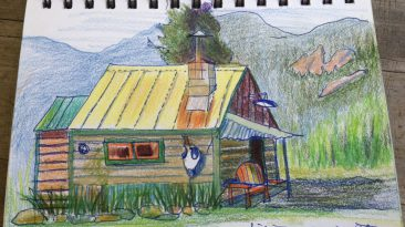Oldest sister Cheryl Renee Long, artist, sketched our location at the Mazama Ranch House.